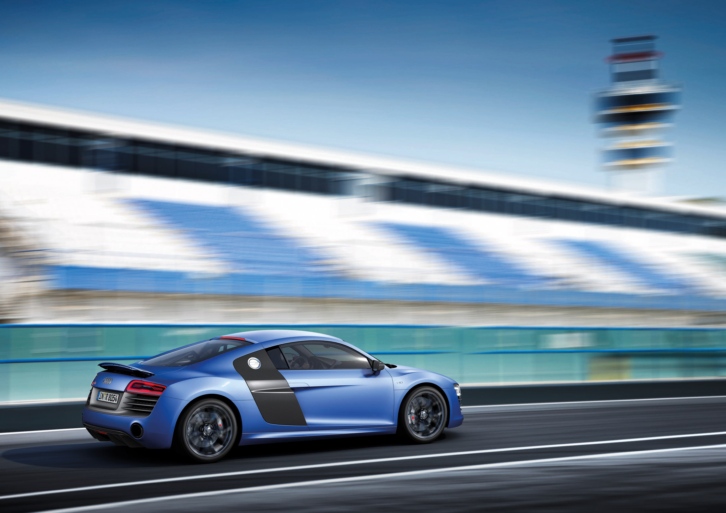 2013 Blue Audi R8 V10 plus Side View