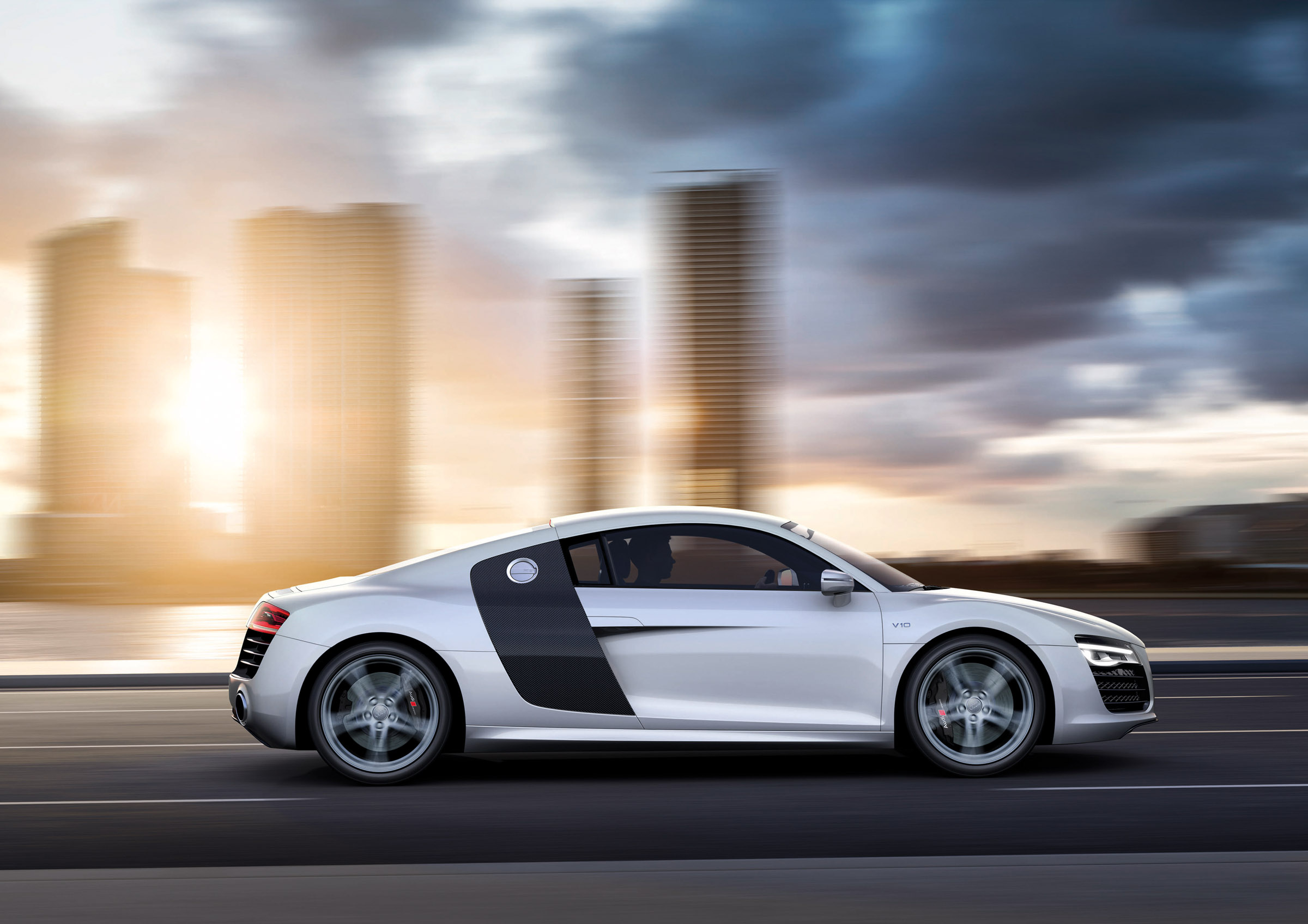 2013 Grey Audi R8 V10 Side View
