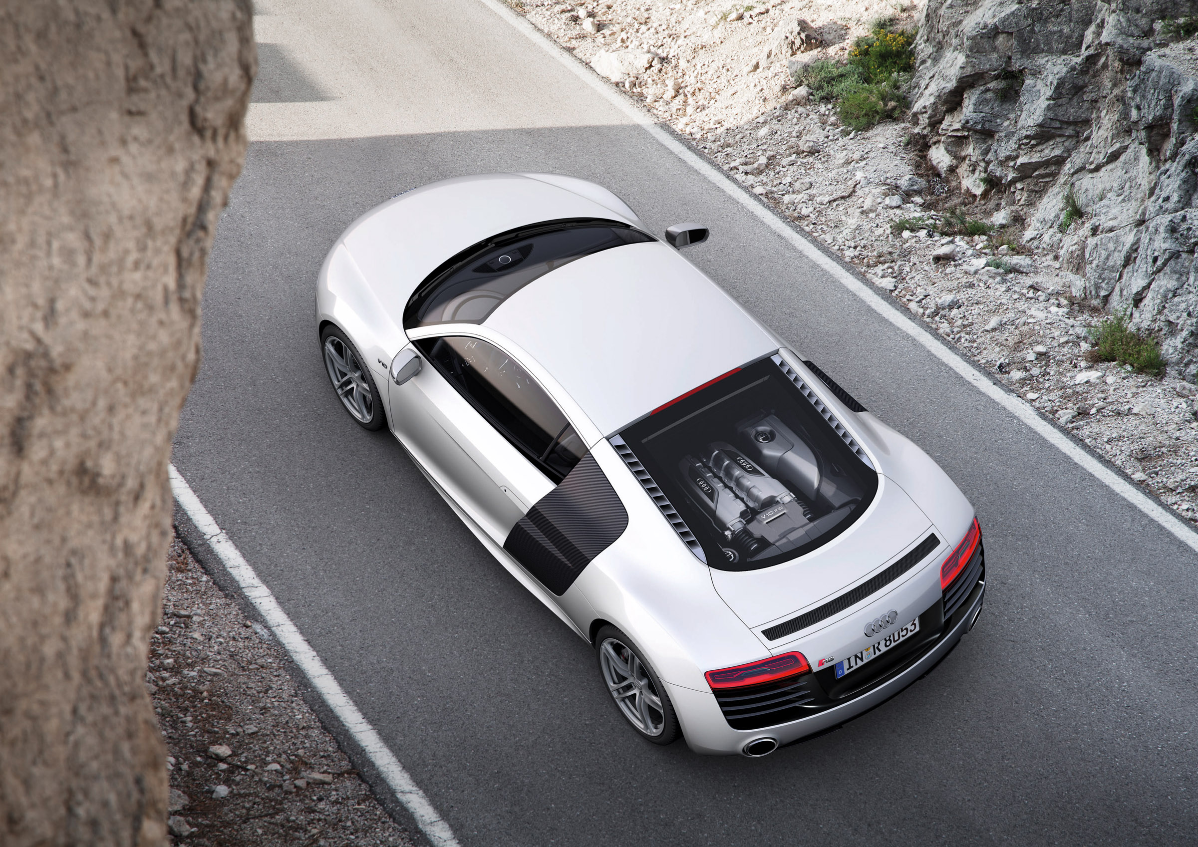 2013 Grey Audi R8 V10 Top View
