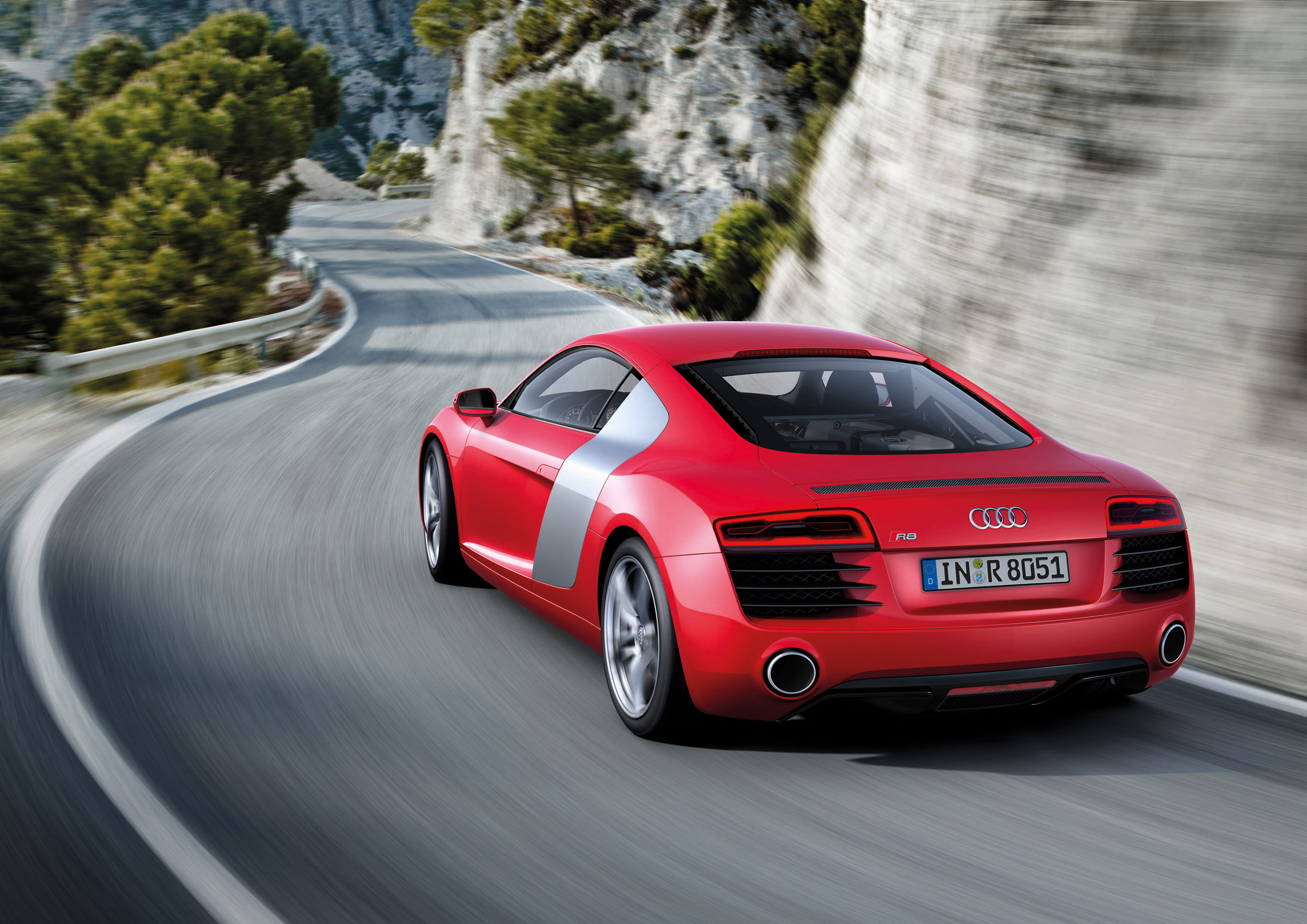 2013 Red Audi R8 Rear View