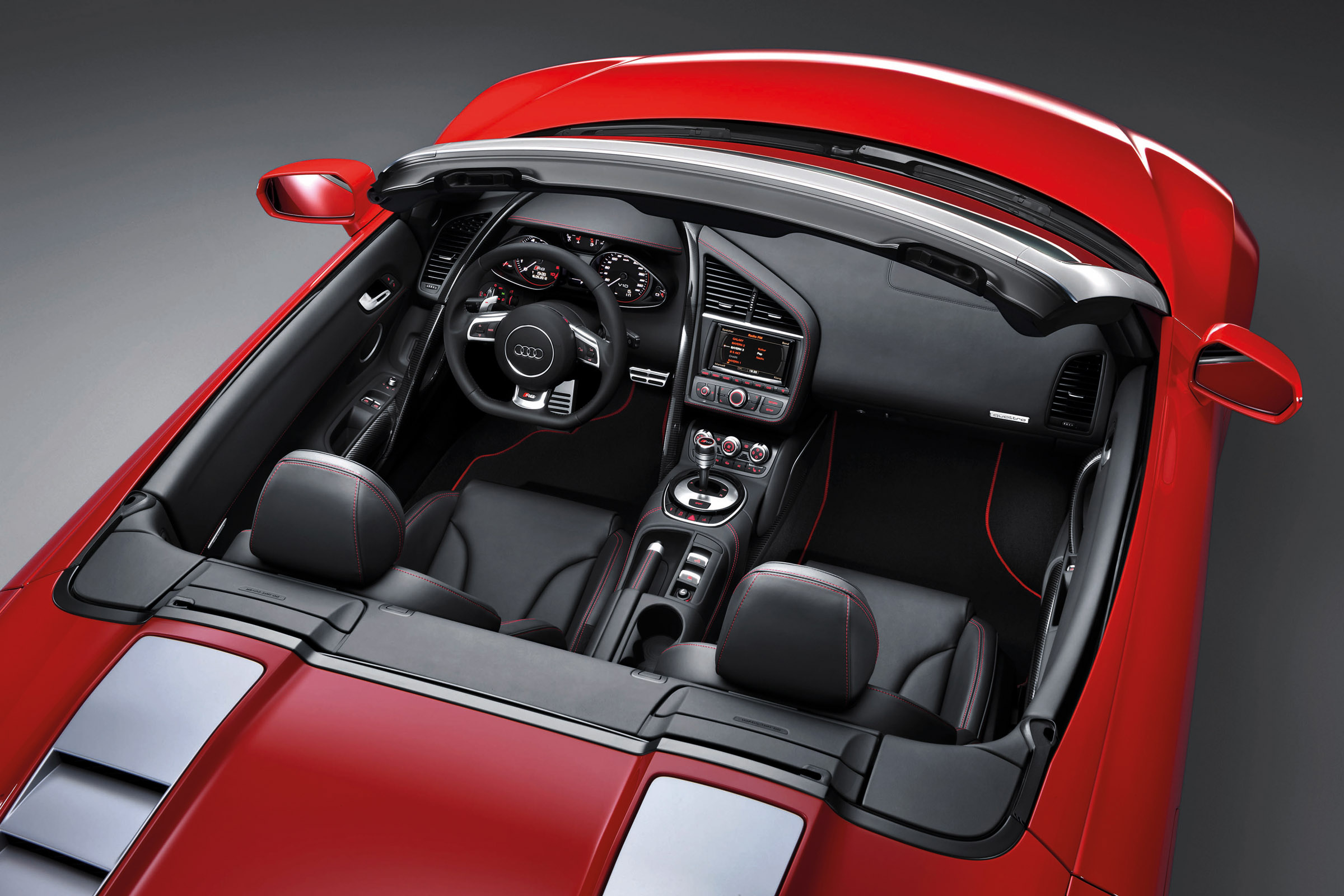 2013 Red Audi R8 Spyder V10 Top View