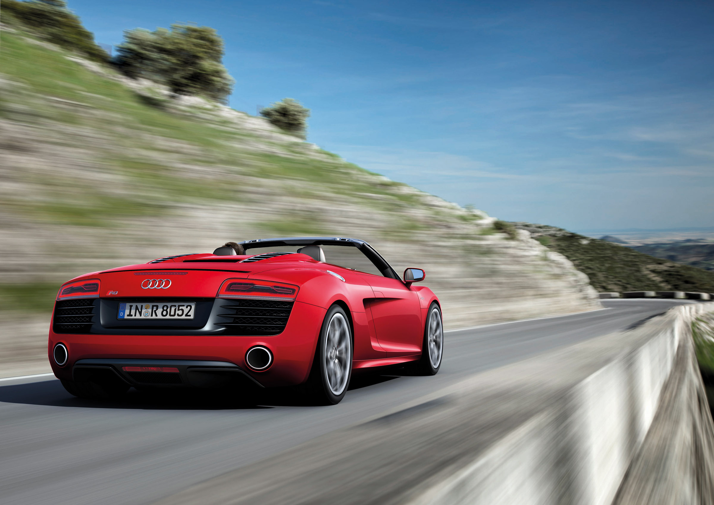 2013 Red Audi R8 Spyder V10 Rear View