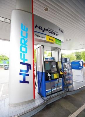 สัญลักษณ์ PTT HyForce Premium Diesel ณ สถานีบริการ