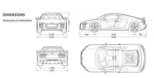 Audi R8 DIMENSIONS